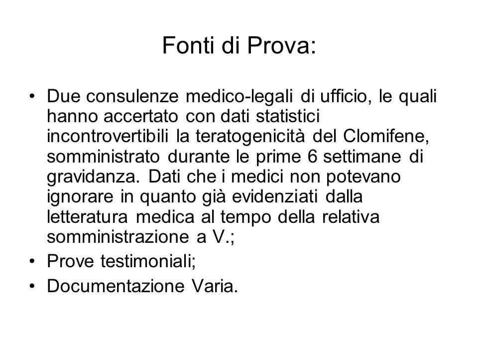 Fonti di Prova: Due consulenze medico-legali di ufficio, le quali hanno accertato con dati statistici incontrovertibili la teratogenicità del Clomifen
