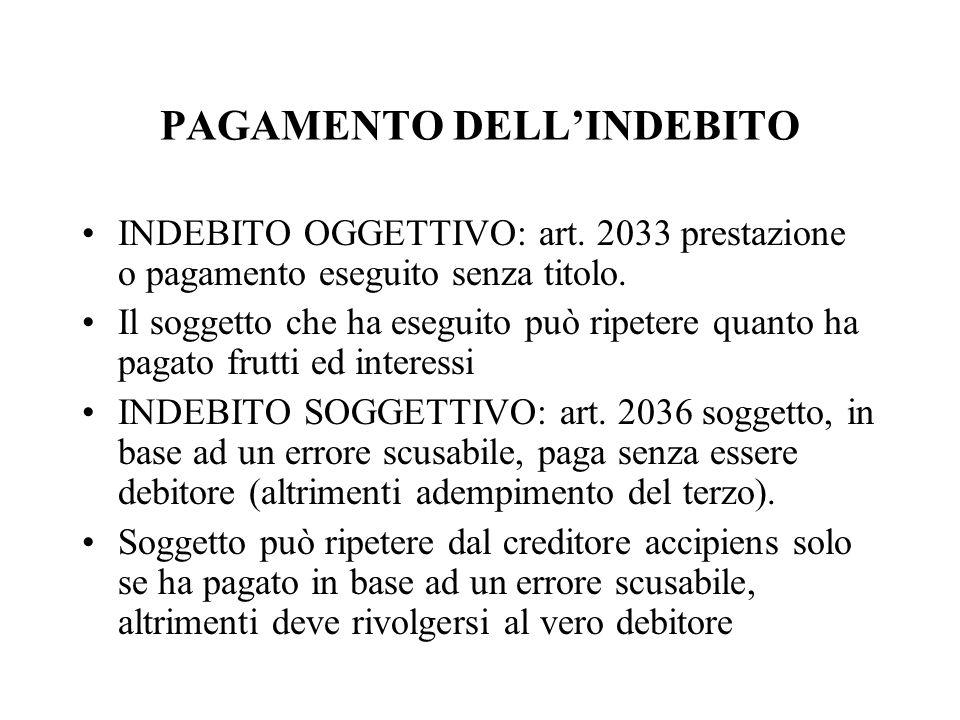 PAGAMENTO DELLINDEBITO INDEBITO OGGETTIVO: art. 2033 prestazione o pagamento eseguito senza titolo. Il soggetto che ha eseguito può ripetere quanto ha