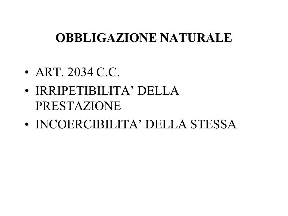 OBBLIGAZIONE NATURALE ART. 2034 C.C. IRRIPETIBILITA DELLA PRESTAZIONE INCOERCIBILITA DELLA STESSA