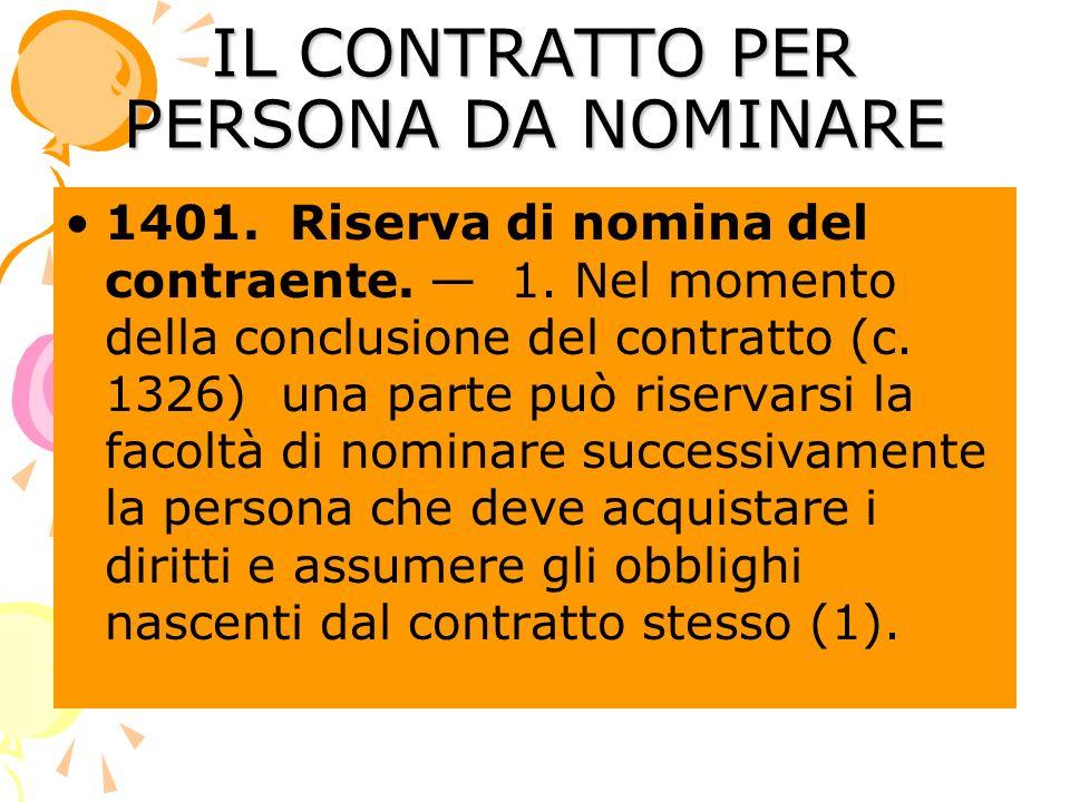 IL CONTRATTO PER PERSONA DA NOMINARE 1401. Riserva di nomina del contraente.