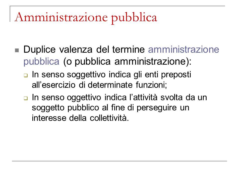 Lamministrazione pubblica in senso soggettivo Si occupa degli interessi delle persone che costituiscono una comunità.