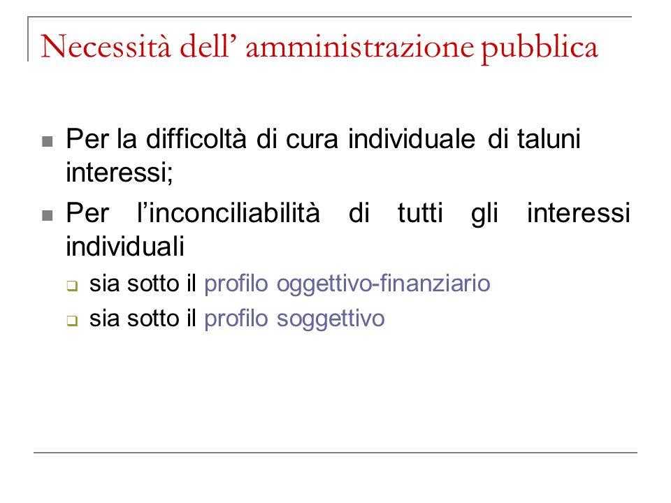 Necessità dell amministrazione pubblica Per la difficoltà di cura individuale di taluni interessi; Per linconciliabilità di tutti gli interessi individuali sia sotto il profilo oggettivo-finanziario sia sotto il profilo soggettivo