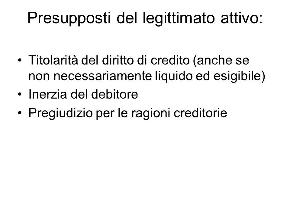 Presupposti del legittimato attivo: Titolarità del diritto di credito (anche se non necessariamente liquido ed esigibile) Inerzia del debitore Pregiud