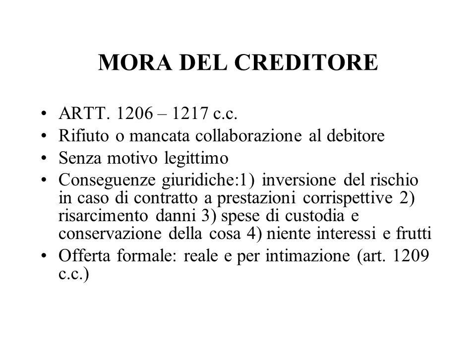 MORA DEL CREDITORE ARTT. 1206 – 1217 c.c. Rifiuto o mancata collaborazione al debitore Senza motivo legittimo Conseguenze giuridiche:1) inversione del