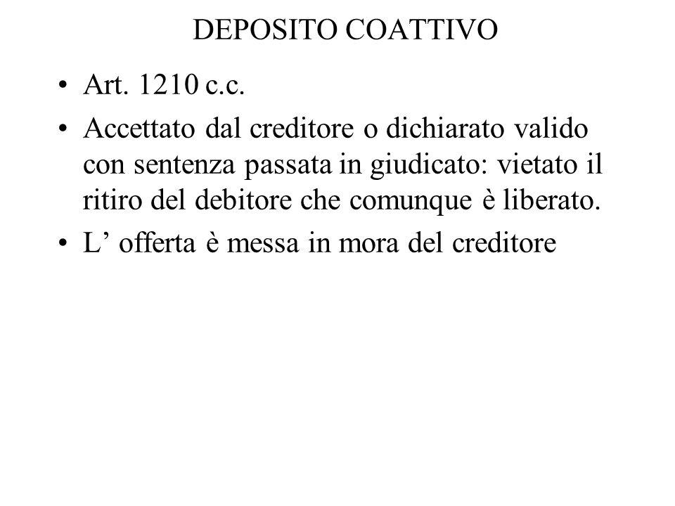 DEPOSITO COATTIVO Art. 1210 c.c. Accettato dal creditore o dichiarato valido con sentenza passata in giudicato: vietato il ritiro del debitore che com
