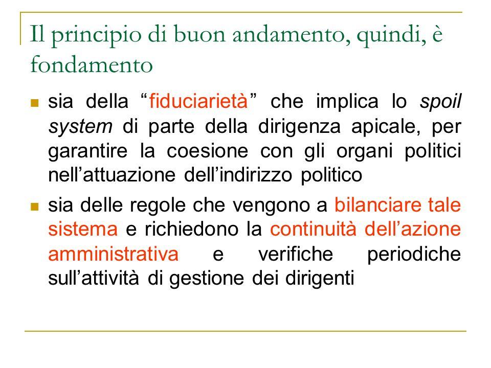 Il principio di buon andamento, quindi, è fondamento sia della fiduciarietà che implica lo spoil system di parte della dirigenza apicale, per garantir