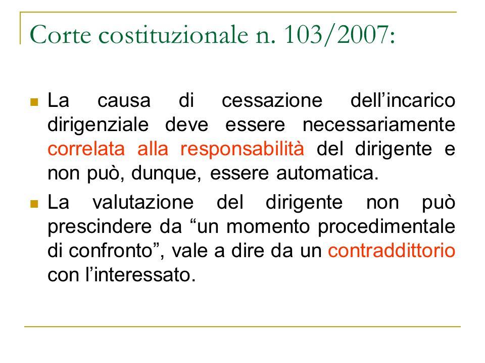 Corte costituzionale n. 103/2007: La causa di cessazione dellincarico dirigenziale deve essere necessariamente correlata alla responsabilità del dirig