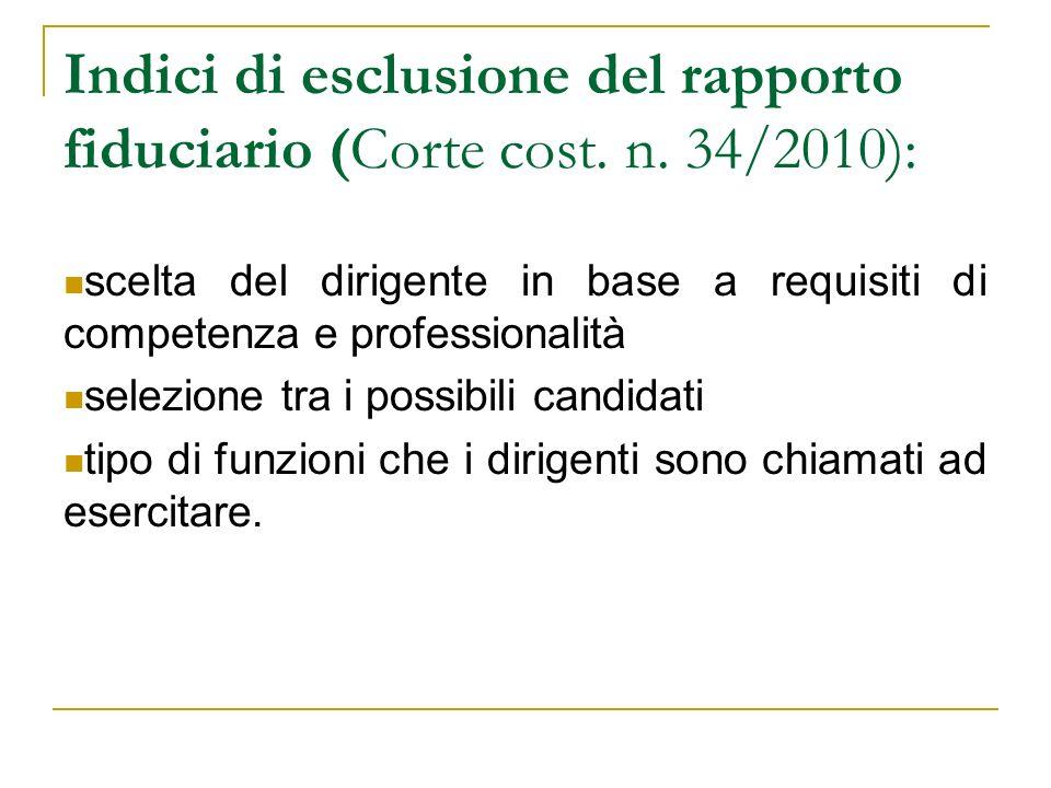 Indici di esclusione del rapporto fiduciario (Corte cost. n. 34/2010): scelta del dirigente in base a requisiti di competenza e professionalità selezi