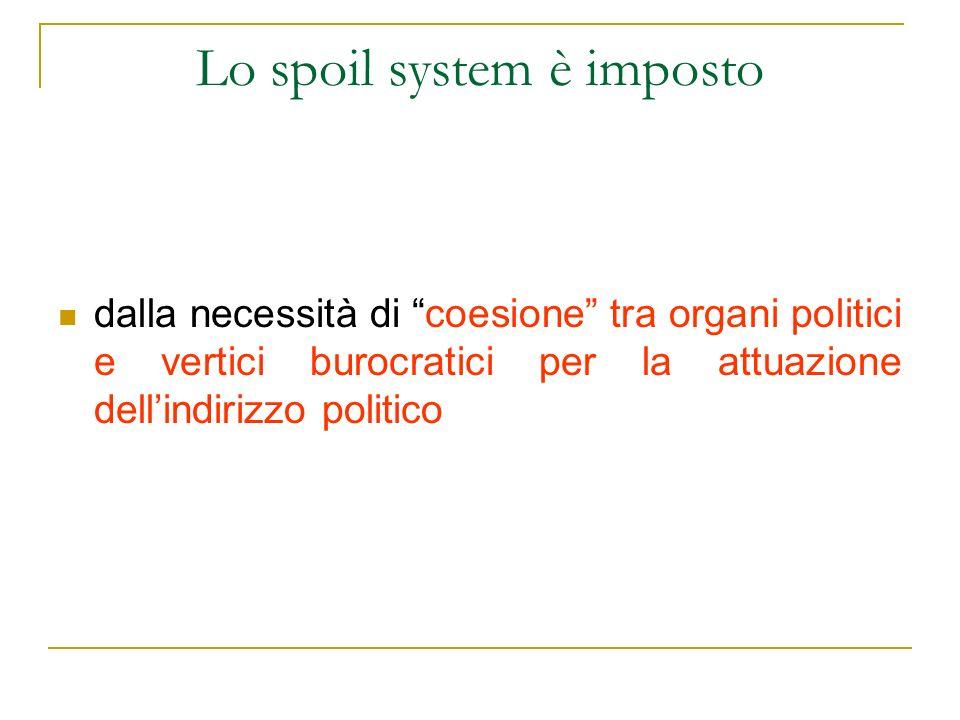 Lo spoil system è imposto dalla necessità di coesione tra organi politici e vertici burocratici per la attuazione dellindirizzo politico