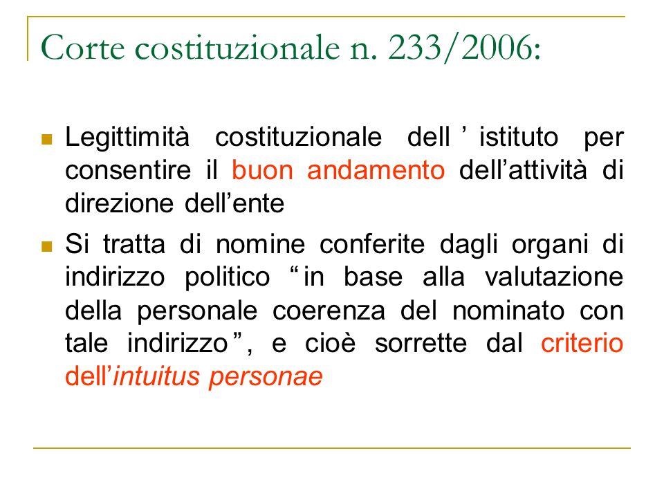 Corte costituzionale n. 233/2006: Legittimità costituzionale dellistituto per consentire il buon andamento dellattività di direzione dellente Si tratt