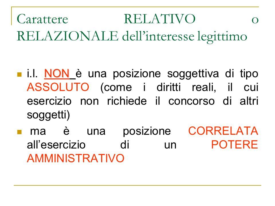 Carattere RELATIVO o RELAZIONALE dellinteresse legittimo NON i.l.