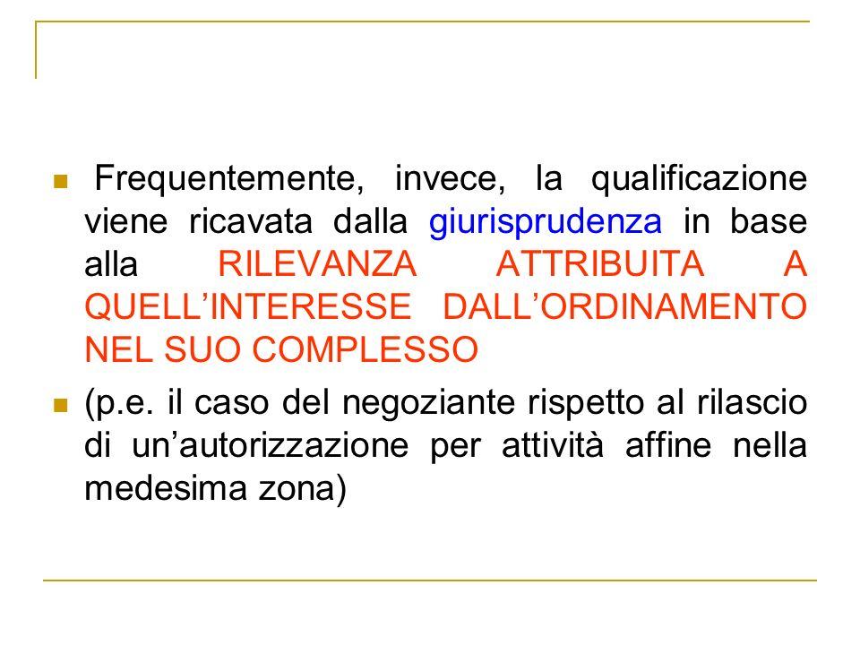 Frequentemente, invece, la qualificazione viene ricavata dalla giurisprudenza in base alla RILEVANZA ATTRIBUITA A QUELLINTERESSE DALLORDINAMENTO NEL S