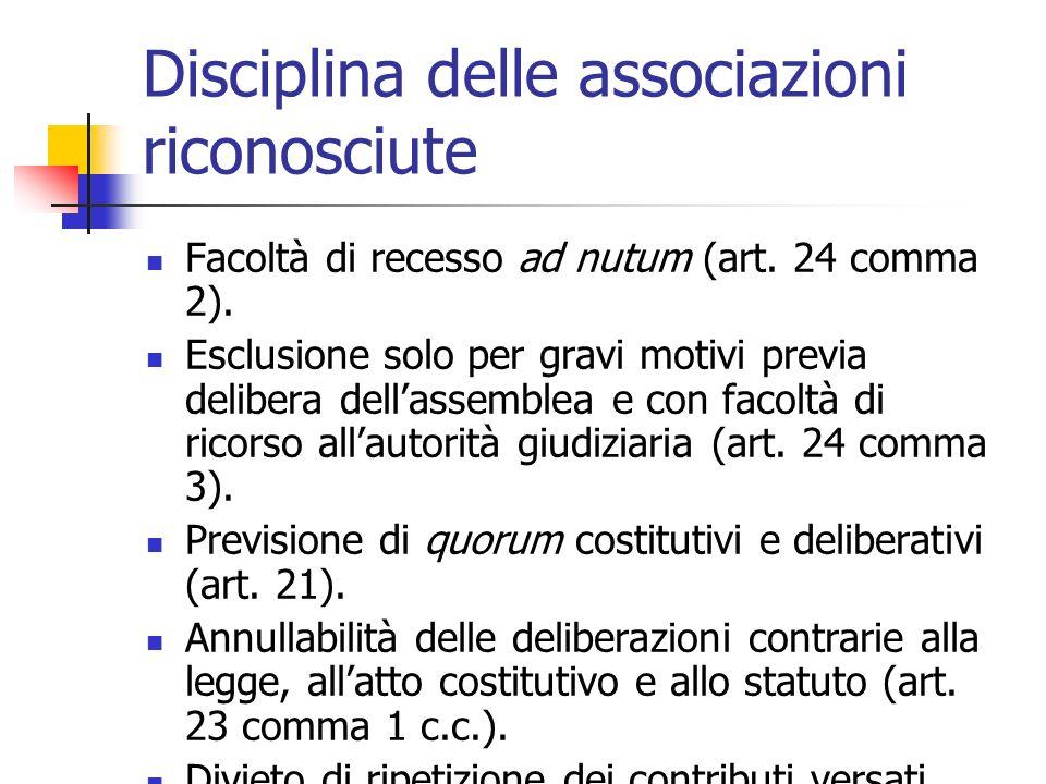 Disciplina delle associazioni riconosciute Facoltà di recesso ad nutum (art. 24 comma 2). Esclusione solo per gravi motivi previa delibera dellassembl