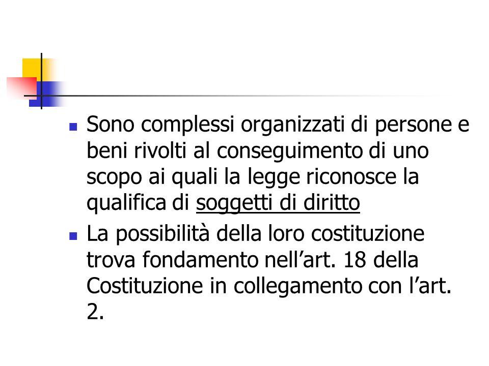 Sono complessi organizzati di persone e beni rivolti al conseguimento di uno scopo ai quali la legge riconosce la qualifica di soggetti di diritto La