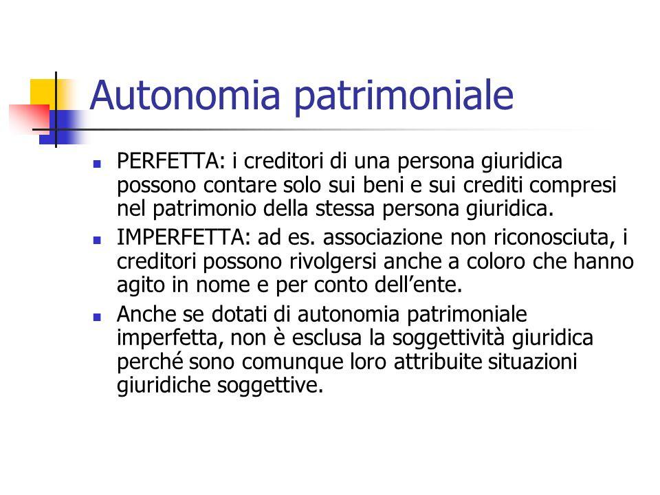 Autonomia patrimoniale PERFETTA: i creditori di una persona giuridica possono contare solo sui beni e sui crediti compresi nel patrimonio della stessa