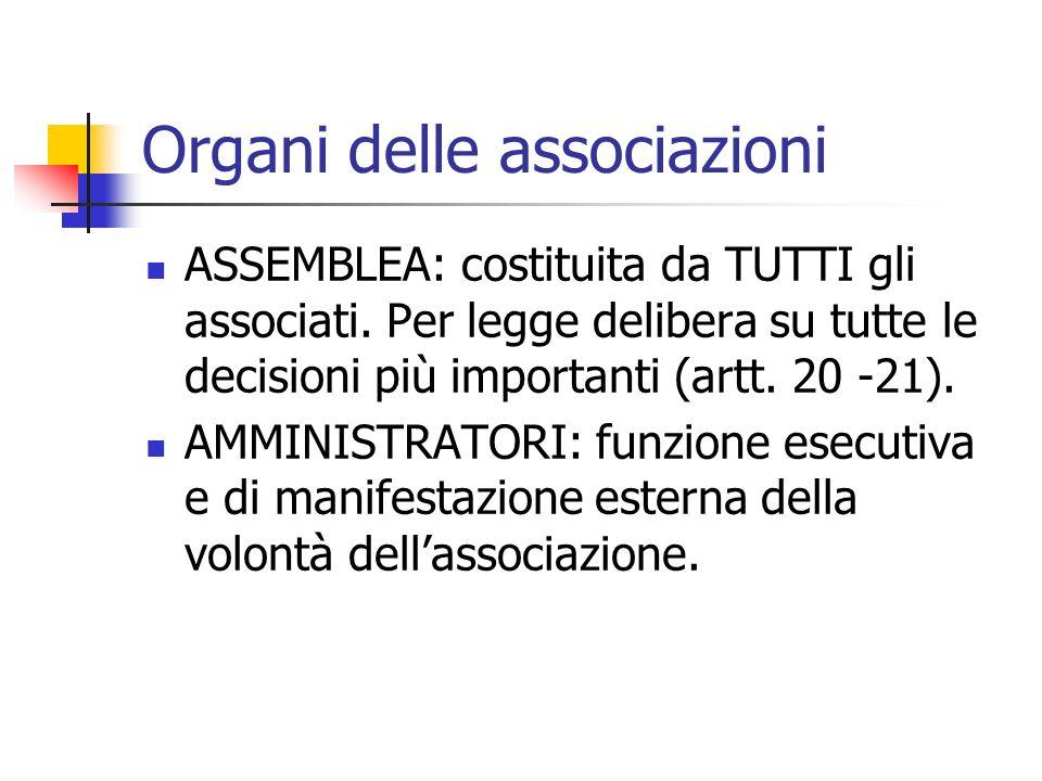 Organi delle associazioni ASSEMBLEA: costituita da TUTTI gli associati. Per legge delibera su tutte le decisioni più importanti (artt. 20 -21). AMMINI