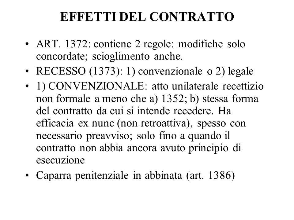 EFFETTI DEL CONTRATTO ART. 1372: contiene 2 regole: modifiche solo concordate; scioglimento anche. RECESSO (1373): 1) convenzionale o 2) legale 1) CON