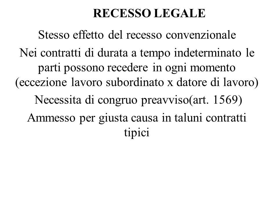 RECESSO LEGALE Stesso effetto del recesso convenzionale Nei contratti di durata a tempo indeterminato le parti possono recedere in ogni momento (eccez