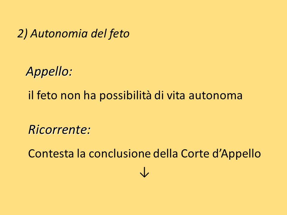 2) Autonomia del feto Appello: Appello: il feto non ha possibilità di vita autonomaRicorrente: Contesta la conclusione della Corte dAppello
