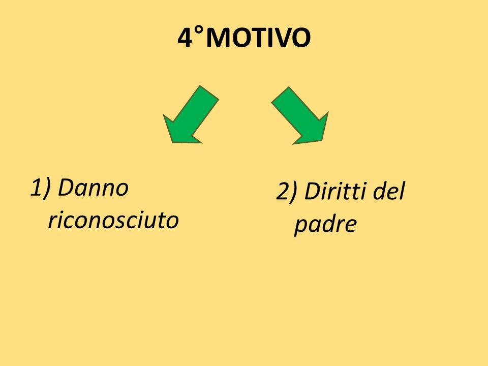 4°MOTIVO 1) Danno riconosciuto 2) Diritti del padre