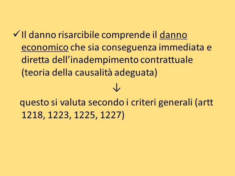 Il danno risarcibile comprende il danno economico che sia conseguenza immediata e diretta dellinadempimento contrattuale (teoria della causalità adeguata) questo si valuta secondo i criteri generali (artt 1218, 1223, 1225, 1227)