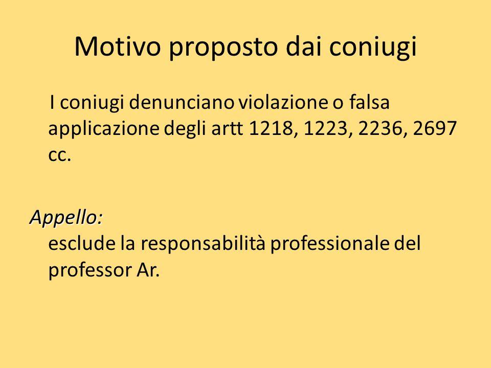Motivo proposto dai coniugi I coniugi denunciano violazione o falsa applicazione degli artt 1218, 1223, 2236, 2697 cc. Appello: Appello: esclude la re