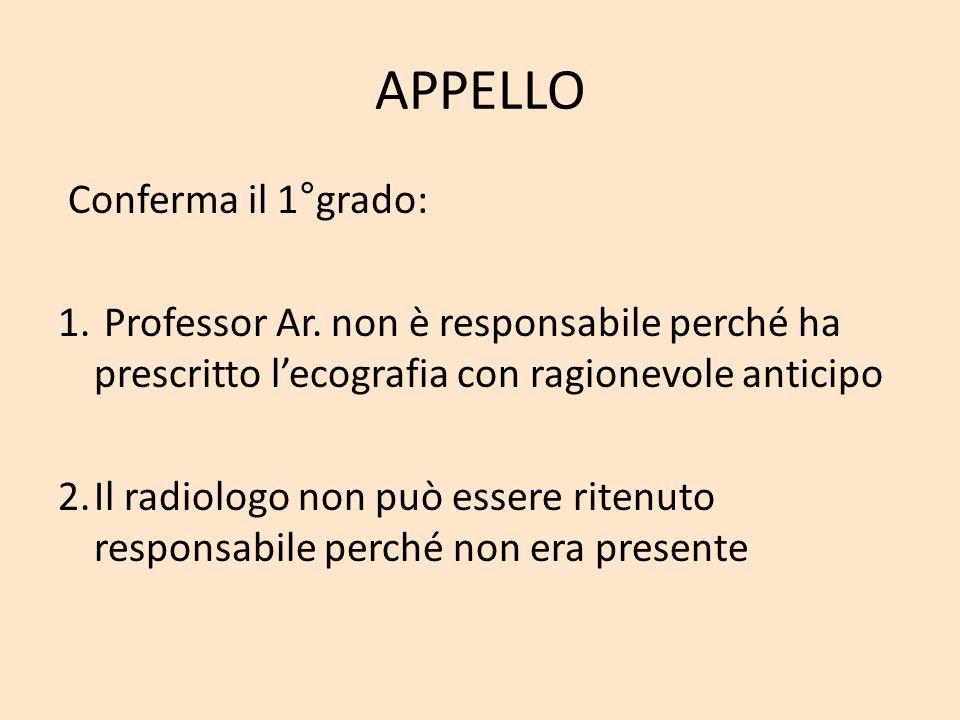 APPELLO Conferma il 1°grado: 1. Professor Ar. non è responsabile perché ha prescritto lecografia con ragionevole anticipo 2.Il radiologo non può esser