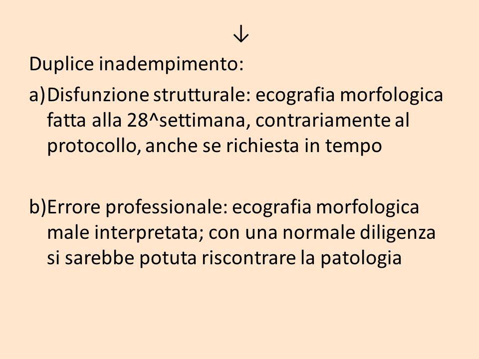 Duplice inadempimento: a)Disfunzione strutturale: ecografia morfologica fatta alla 28^settimana, contrariamente al protocollo, anche se richiesta in t