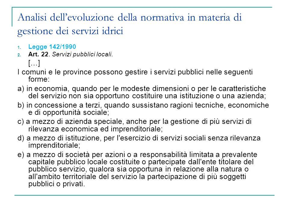 Analisi dellevoluzione della normativa in materia di gestione dei servizi idrici 1.