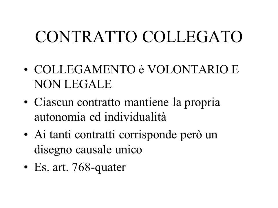 CONTRATTO COLLEGATO COLLEGAMENTO è VOLONTARIO E NON LEGALE Ciascun contratto mantiene la propria autonomia ed individualità Ai tanti contratti corrisp