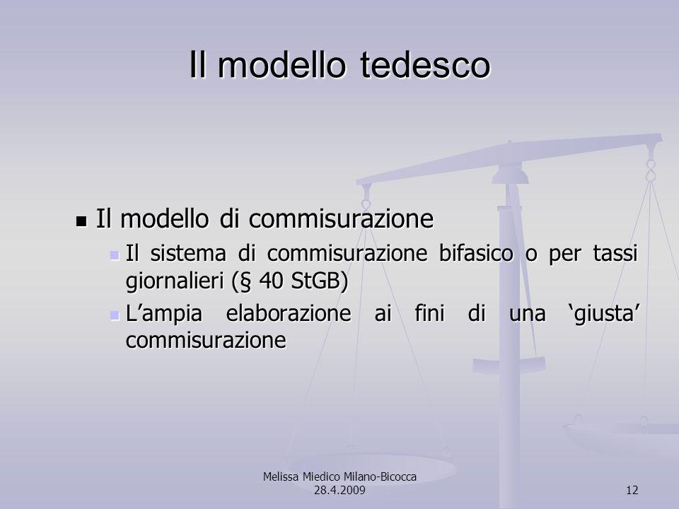 Melissa Miedico Milano-Bicocca 28.4.200912 Il modello tedesco Il modello di commisurazione Il modello di commisurazione Il sistema di commisurazione bifasico o per tassi giornalieri (§ 40 StGB) Il sistema di commisurazione bifasico o per tassi giornalieri (§ 40 StGB) Lampia elaborazione ai fini di una giusta commisurazione Lampia elaborazione ai fini di una giusta commisurazione