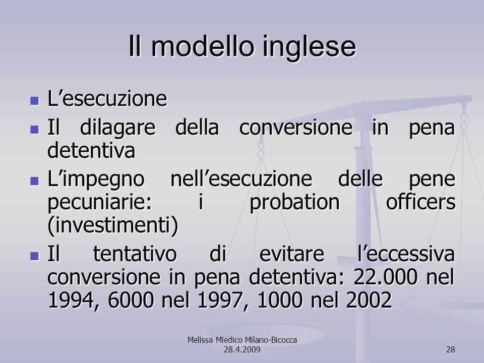 Melissa Miedico Milano-Bicocca 28.4.200928 Il modello inglese Lesecuzione Lesecuzione Il dilagare della conversione in pena detentiva Il dilagare dell