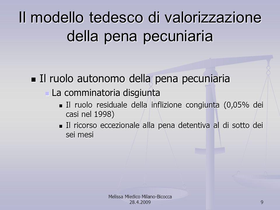 Melissa Miedico Milano-Bicocca 28.4.20099 Il modello tedesco di valorizzazione della pena pecuniaria Il ruolo autonomo della pena pecuniaria Il ruolo autonomo della pena pecuniaria La comminatoria disgiunta La comminatoria disgiunta Il ruolo residuale della inflizione congiunta (0,05% dei casi nel 1998) Il ruolo residuale della inflizione congiunta (0,05% dei casi nel 1998) Il ricorso eccezionale alla pena detentiva al di sotto dei sei mesi Il ricorso eccezionale alla pena detentiva al di sotto dei sei mesi