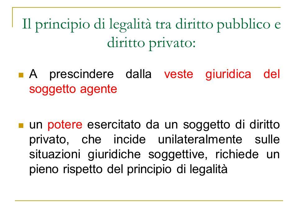 Il principio di legalità tra diritto pubblico e diritto privato: A prescindere dalla veste giuridica del soggetto agente un potere esercitato da un so