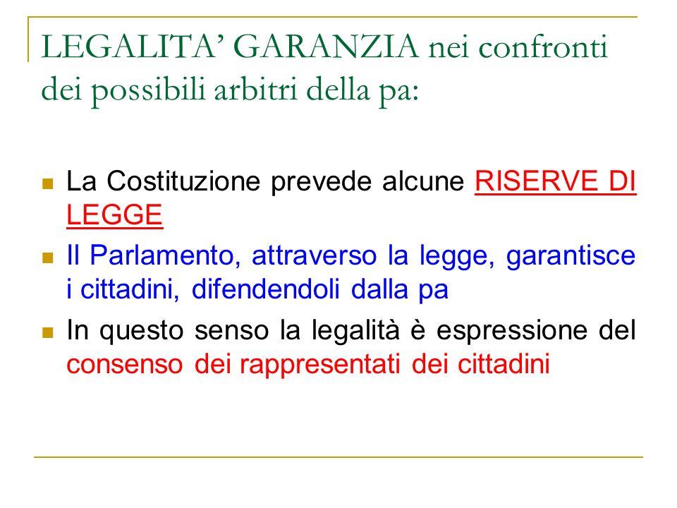 LEGALITA GARANZIA nei confronti dei possibili arbitri della pa: La Costituzione prevede alcune RISERVE DI LEGGE Il Parlamento, attraverso la legge, ga