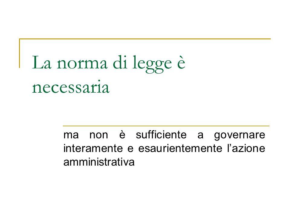 La norma di legge è necessaria ma non è sufficiente a governare interamente e esaurientemente lazione amministrativa