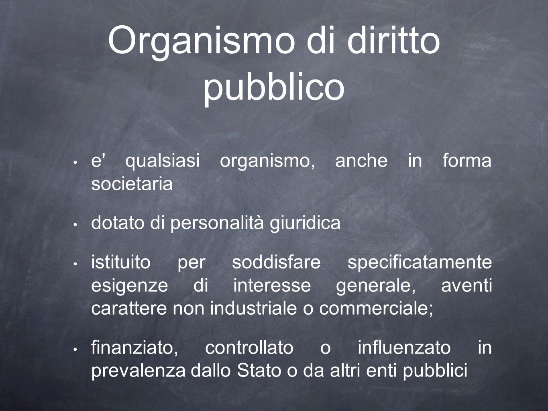 Organismo di diritto pubblico e' qualsiasi organismo, anche in forma societaria dotato di personalità giuridica istituito per soddisfare specificatame