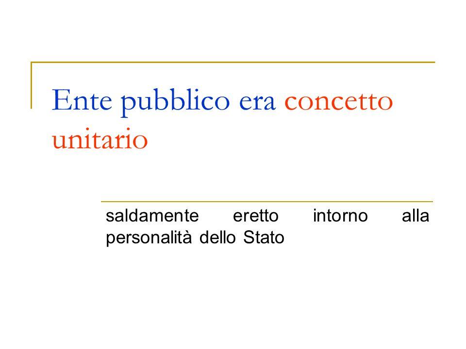 Ente pubblico era concetto unitario saldamente eretto intorno alla personalità dello Stato