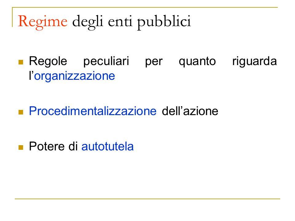Regime degli enti pubblici Regole peculiari per quanto riguarda lorganizzazione Procedimentalizzazione dellazione Potere di autotutela