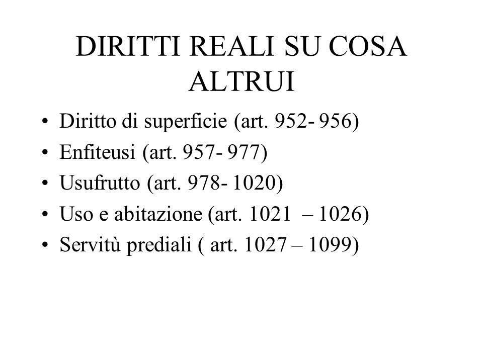 DIRITTI REALI SU COSA ALTRUI Diritto di superficie (art. 952- 956) Enfiteusi (art. 957- 977) Usufrutto (art. 978- 1020) Uso e abitazione (art. 1021 –