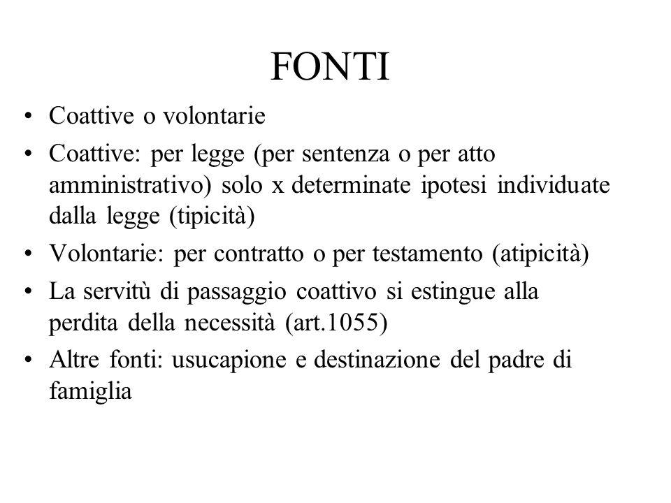 FONTI Coattive o volontarie Coattive: per legge (per sentenza o per atto amministrativo) solo x determinate ipotesi individuate dalla legge (tipicità)