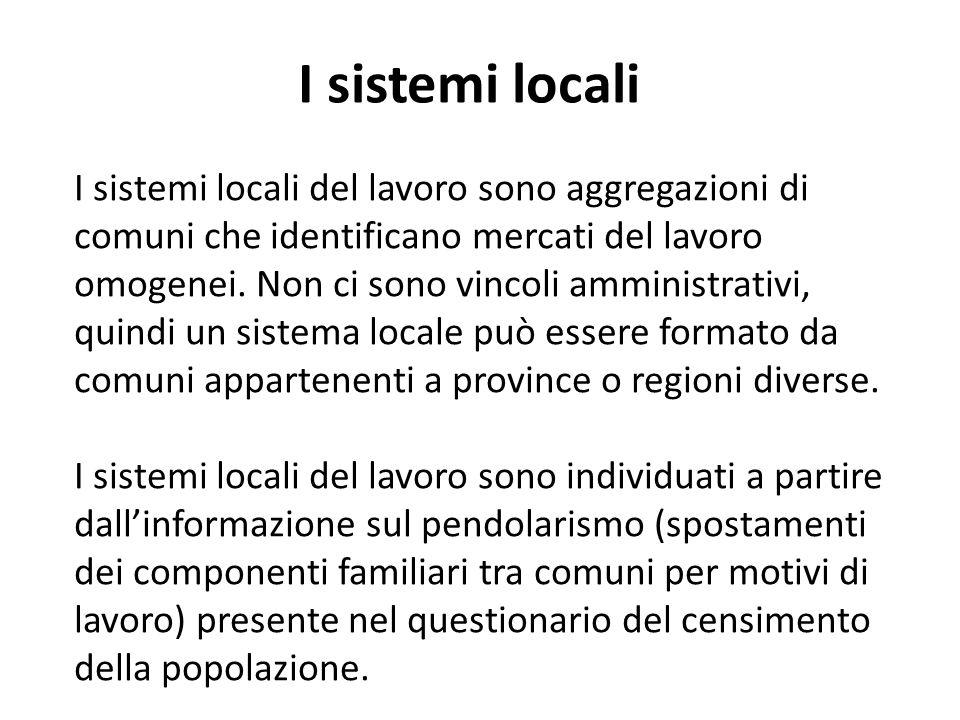 I sistemi locali del lavoro sono aggregazioni di comuni che identificano mercati del lavoro omogenei.