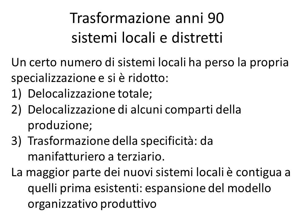 Trasformazione anni 90 sistemi locali e distretti Un certo numero di sistemi locali ha perso la propria specializzazione e si è ridotto: 1)Delocalizzazione totale; 2)Delocalizzazione di alcuni comparti della produzione; 3)Trasformazione della specificità: da manifatturiero a terziario.