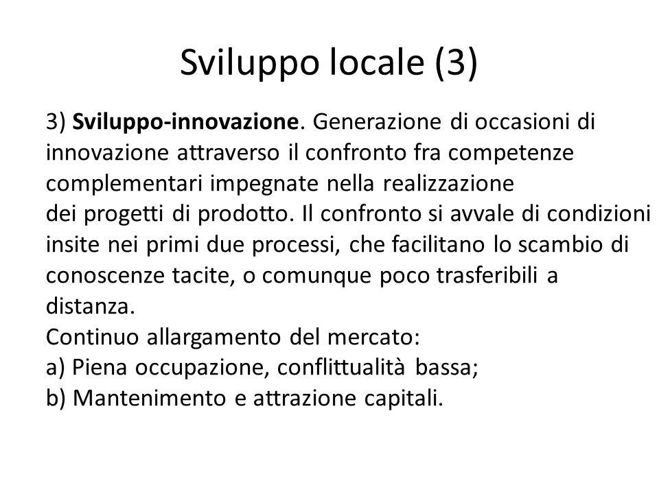 Sviluppo locale (3) 3) Sviluppo-innovazione. Generazione di occasioni di innovazione attraverso il confronto fra competenze complementari impegnate ne