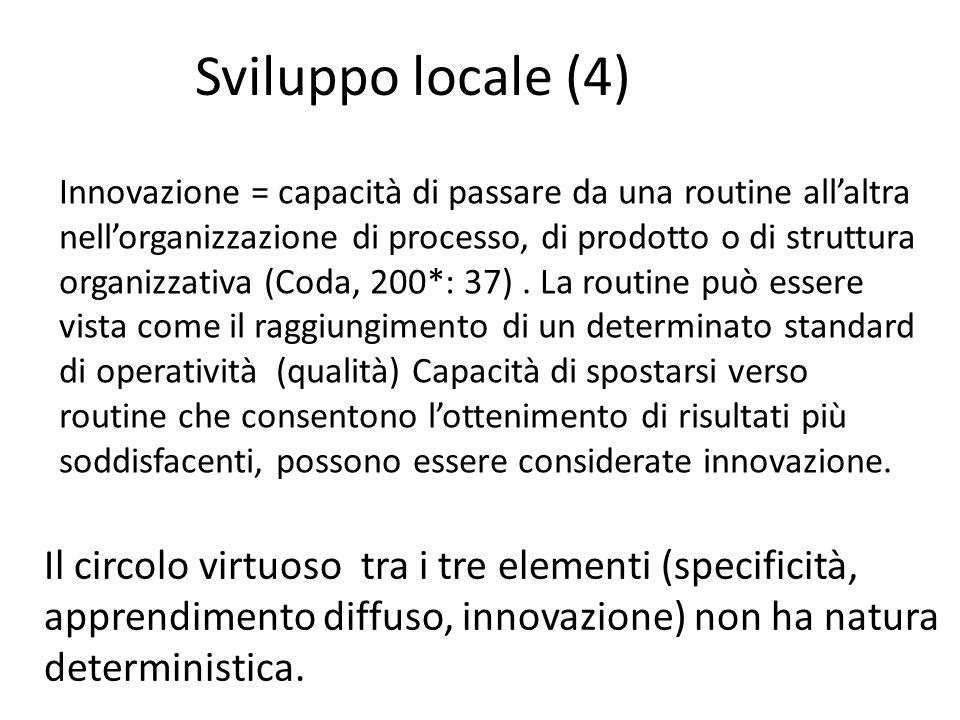 Il circolo virtuoso tra i tre elementi (specificità, apprendimento diffuso, innovazione) non ha natura deterministica. Sviluppo locale (4) Innovazione