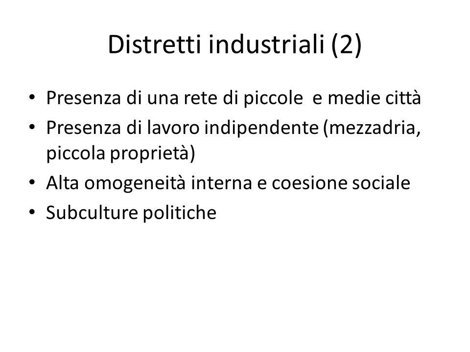 Distretti industriali (2) Presenza di una rete di piccole e medie città Presenza di lavoro indipendente (mezzadria, piccola proprietà) Alta omogeneità