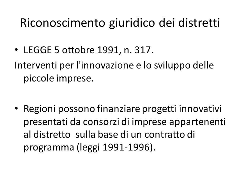 Riconoscimento giuridico dei distretti LEGGE 5 ottobre 1991, n. 317. Interventi per l'innovazione e lo sviluppo delle piccole imprese. Regioni possono