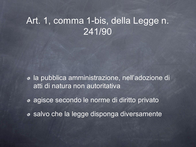 Art. 1, comma 1-bis, della Legge n. 241/90 la pubblica amministrazione, nelladozione di atti di natura non autoritativa agisce secondo le norme di dir