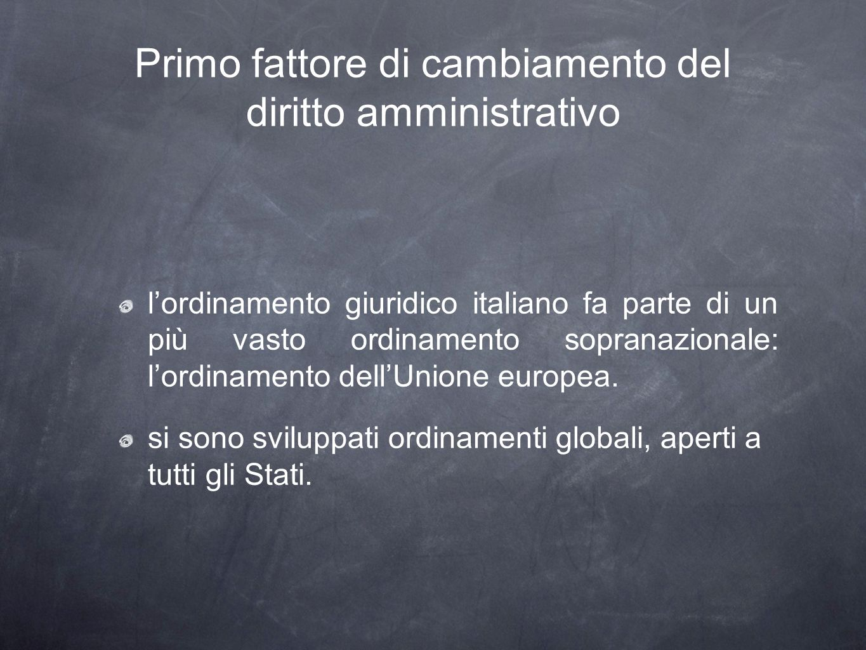 Primo fattore di cambiamento del diritto amministrativo lordinamento giuridico italiano fa parte di un più vasto ordinamento sopranazionale: lordinamento dellUnione europea.