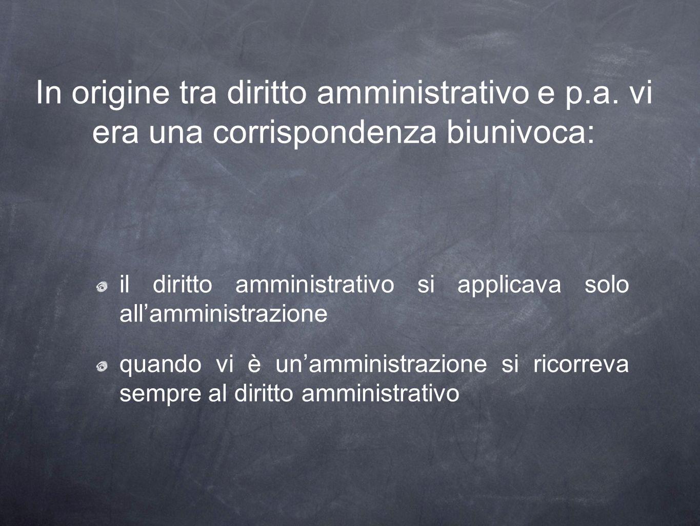 In origine tra diritto amministrativo e p.a. vi era una corrispondenza biunivoca: il diritto amministrativo si applicava solo allamministrazione quand